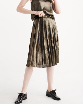 ANF Pleated Metallic Midi Skirt
