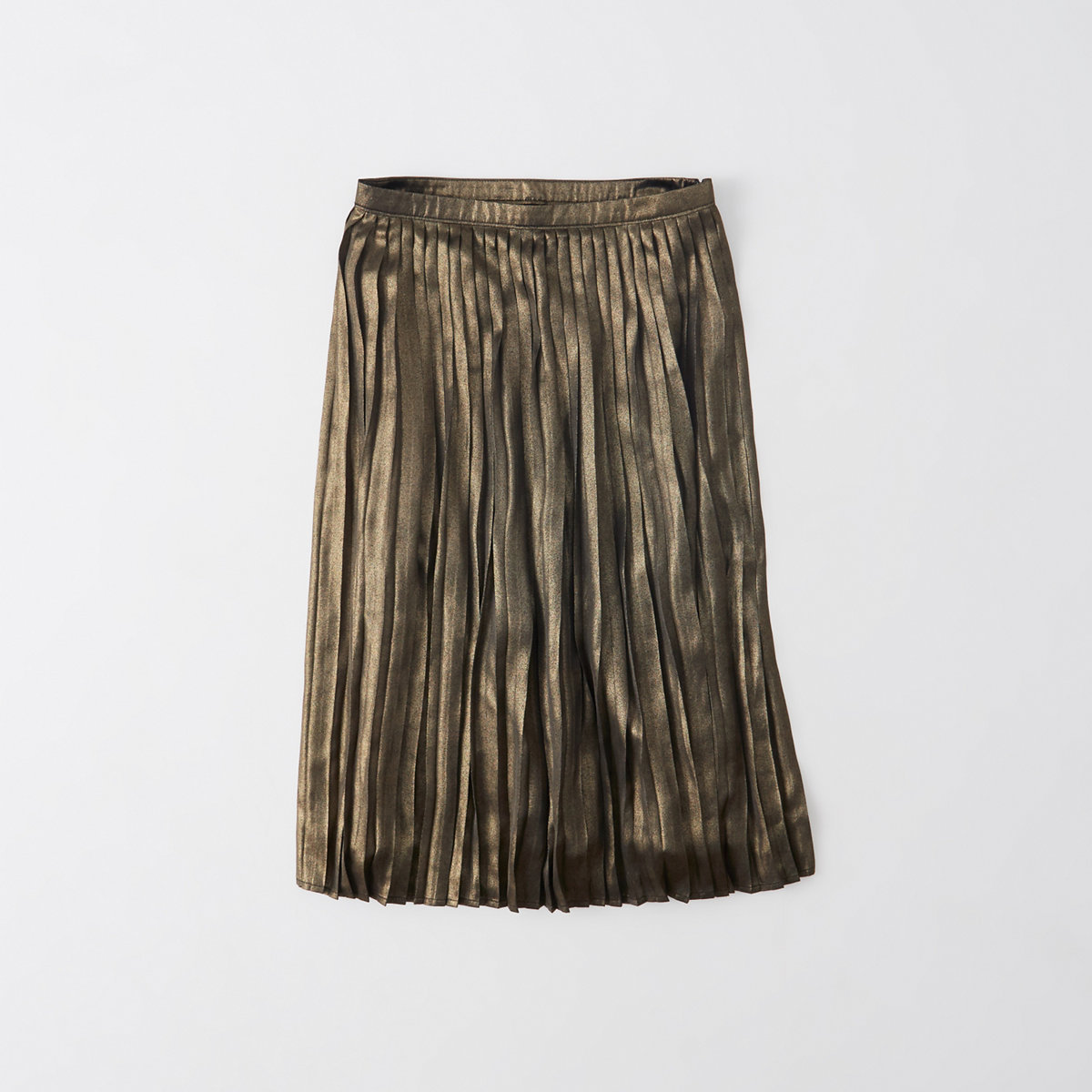 Pleated Metallic Midi Skirt