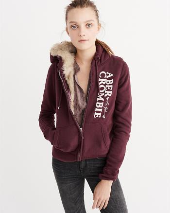 ANF Faux Fur Full-Zip Hoodie