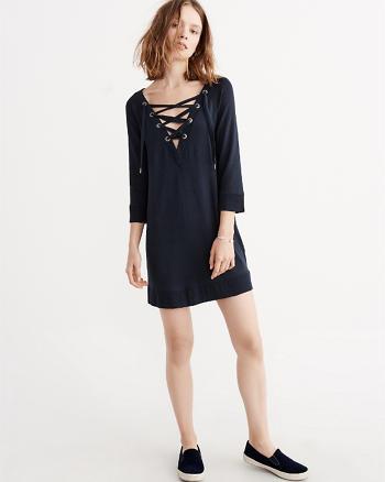 ANF Lace-Up Fleece Dress