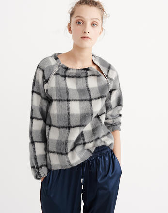 ANF Fuzzy Plaid Sweatshirt