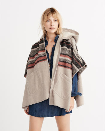 ANF Wool-Blend Hooded Poncho