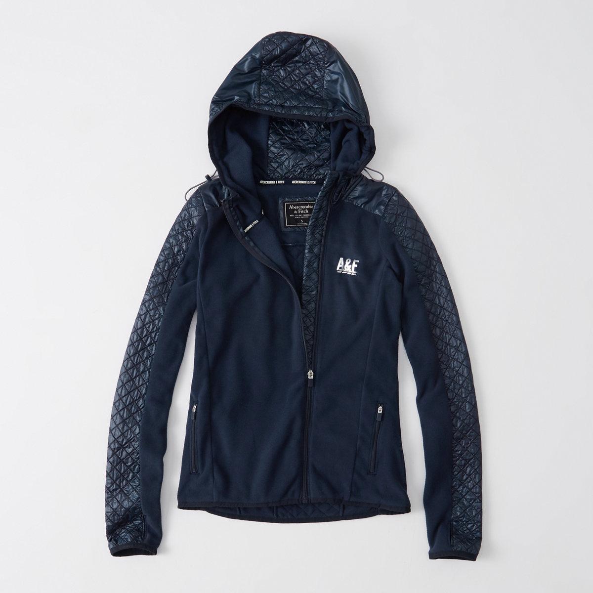 Active Quilted-Sleeve Zip Hoodie