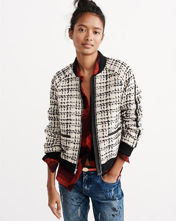 ANF Tweed Bomber Jacket