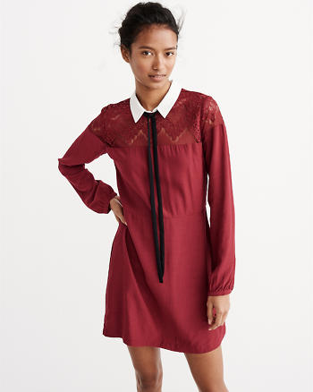 ANF Lace-Accent Collar Dress