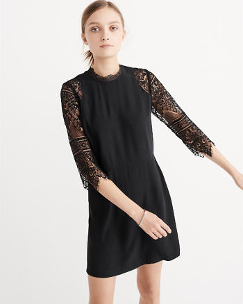 ANF Lace Mock Neck Dress