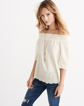 ANF Embroidered Hem Off The Shoulder Top