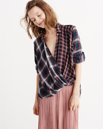 ANF Wrap Front Plaid Top