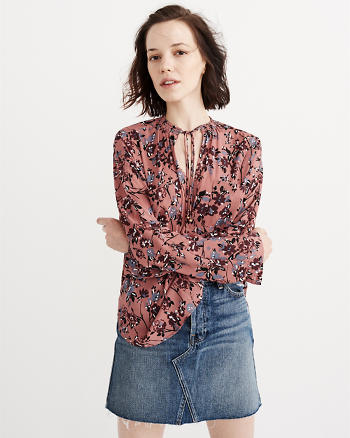 ANF Pattern Tie Front Blouse