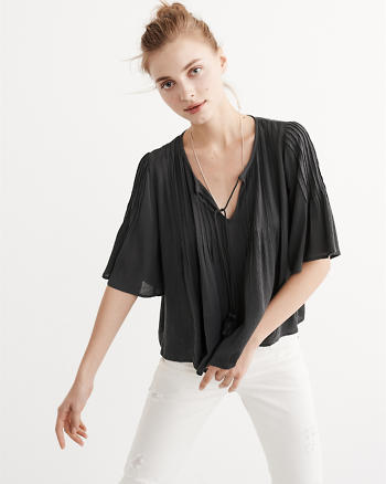 ANF Pintuck Peasant Top