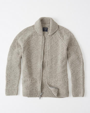 ANF Full-Zip Hand Knit Cardigan