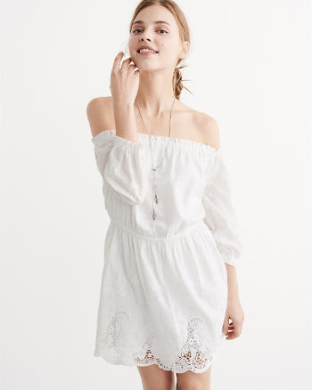 ANF Embroidered Off-The-Shoulder Dress