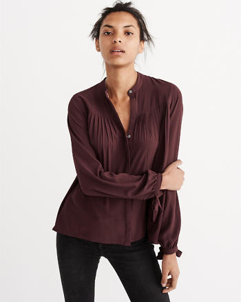 ANF Pleated Solid Blouse