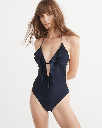 ANF Deep V Ruffle One Piece