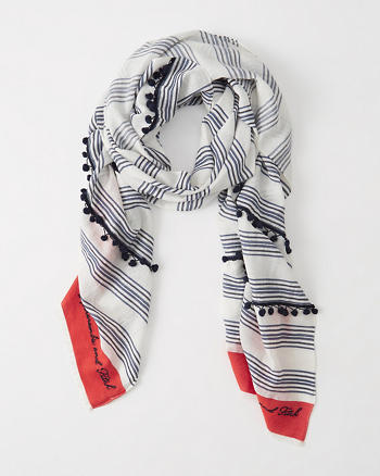 ANF Striped Tassel Scarf