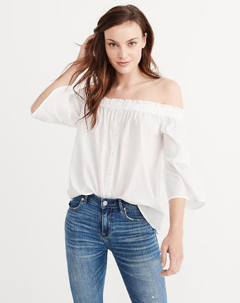 ANF Off The Shoulder Poplin Top