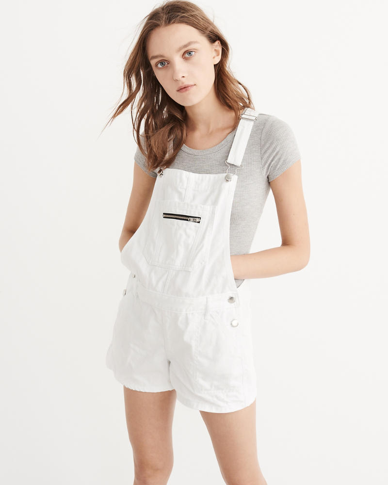 Try Out Shorteralls; Abercrombie and Fitch White