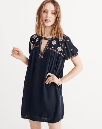 ANF Embroidered Swing Dress