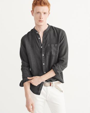 ANF Linen Mandarin Collar Shirt