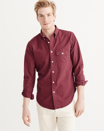 ANF Garment Dye Oxford Shirt