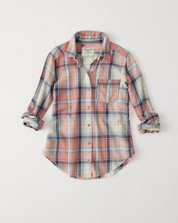 ANF Drapey Plaid Shirt