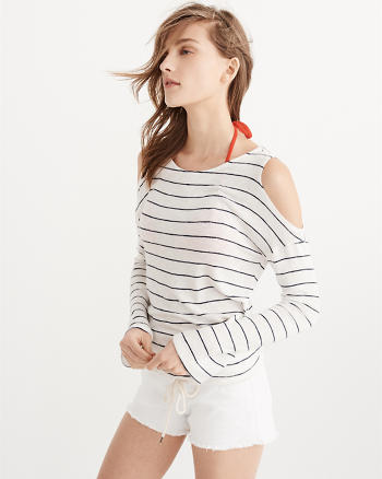 ANF Tie-Hem Cold-Shoulder Tee
