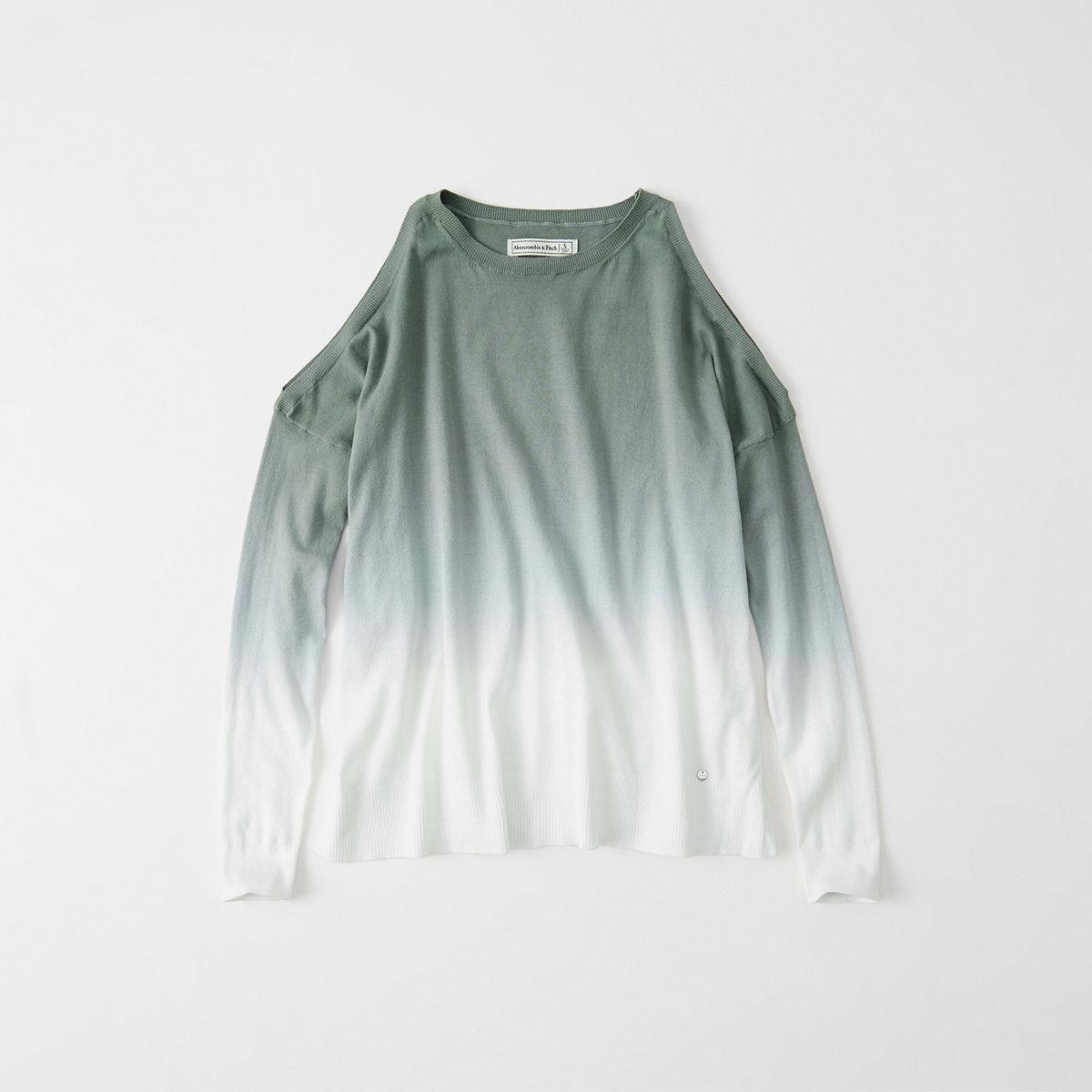 Dip Dye Cold-Shoulder Sweater