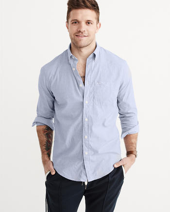ANF Relaxed Fit Cotton Poplin Shirt
