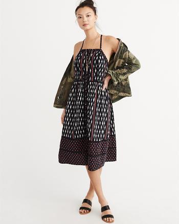ANF Linen Blend Square Neck Midi Dress