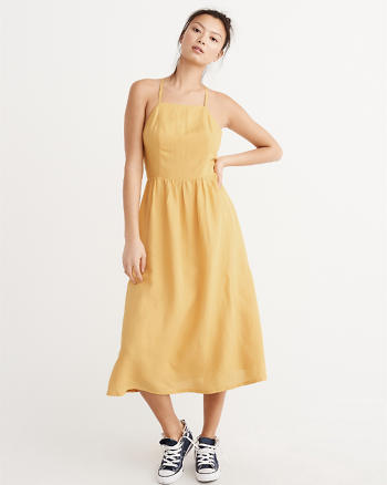 ANF Linen Blend Square Neck Midi Dress