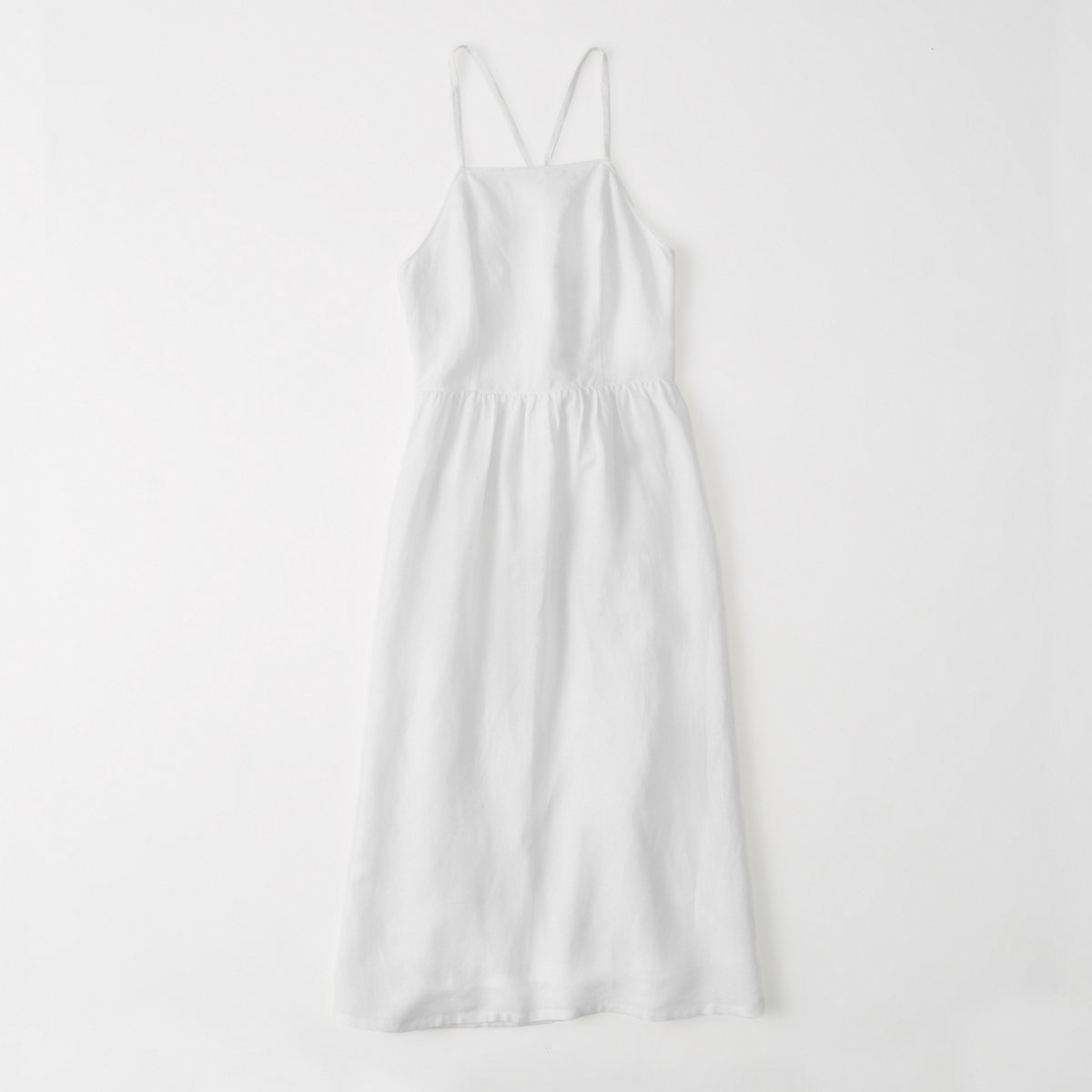 Linen Blend Square Neck Midi Dress
