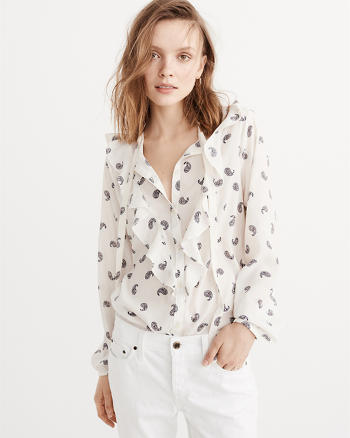 ANF Ruffle Button Down Blouse