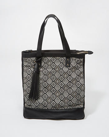 ANF Woven Panel Beach Tote