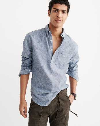 ANF Chambray Popover Shirt
