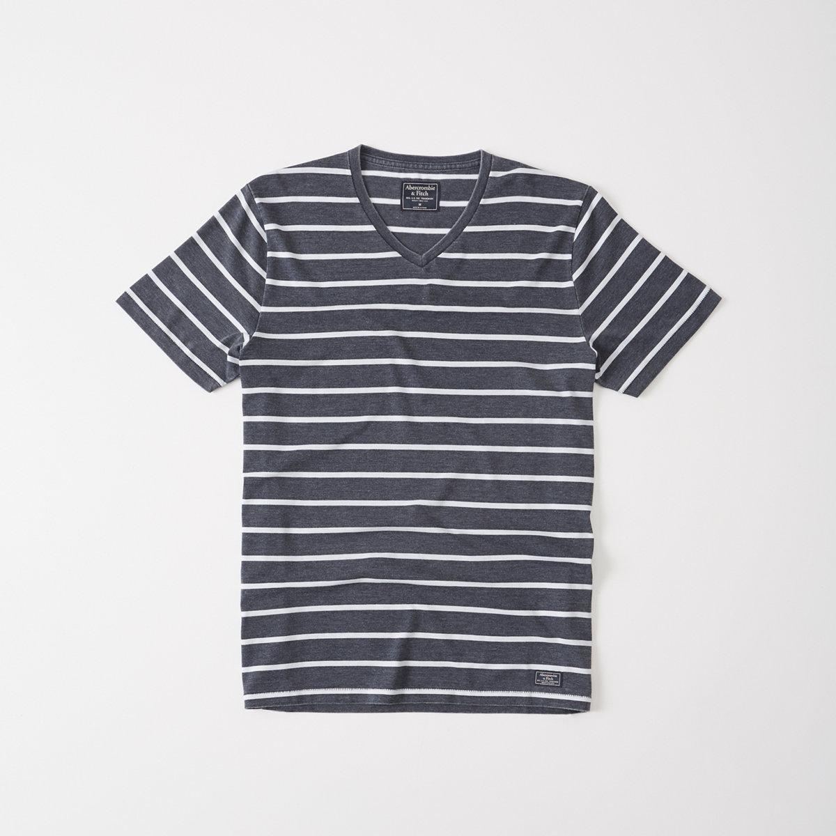 Striped Burnout V-Neck