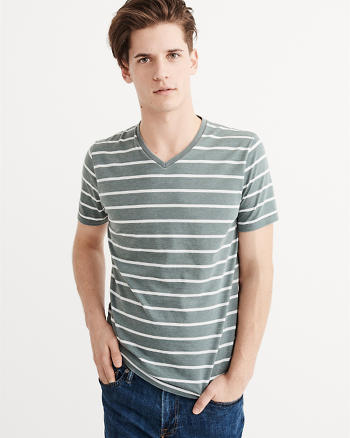 ANF Striped Burnout V-Neck