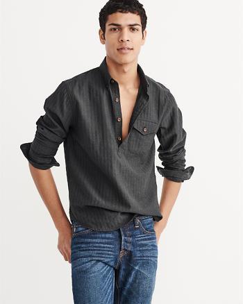 ANF Herringbone Rumple Popover Shirt
