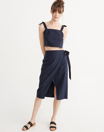 ANF Linen Blend Wrap Skirt Set