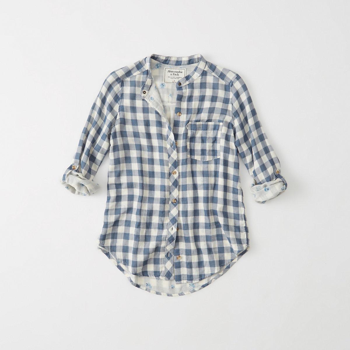 Mandarin Plaid Shirt