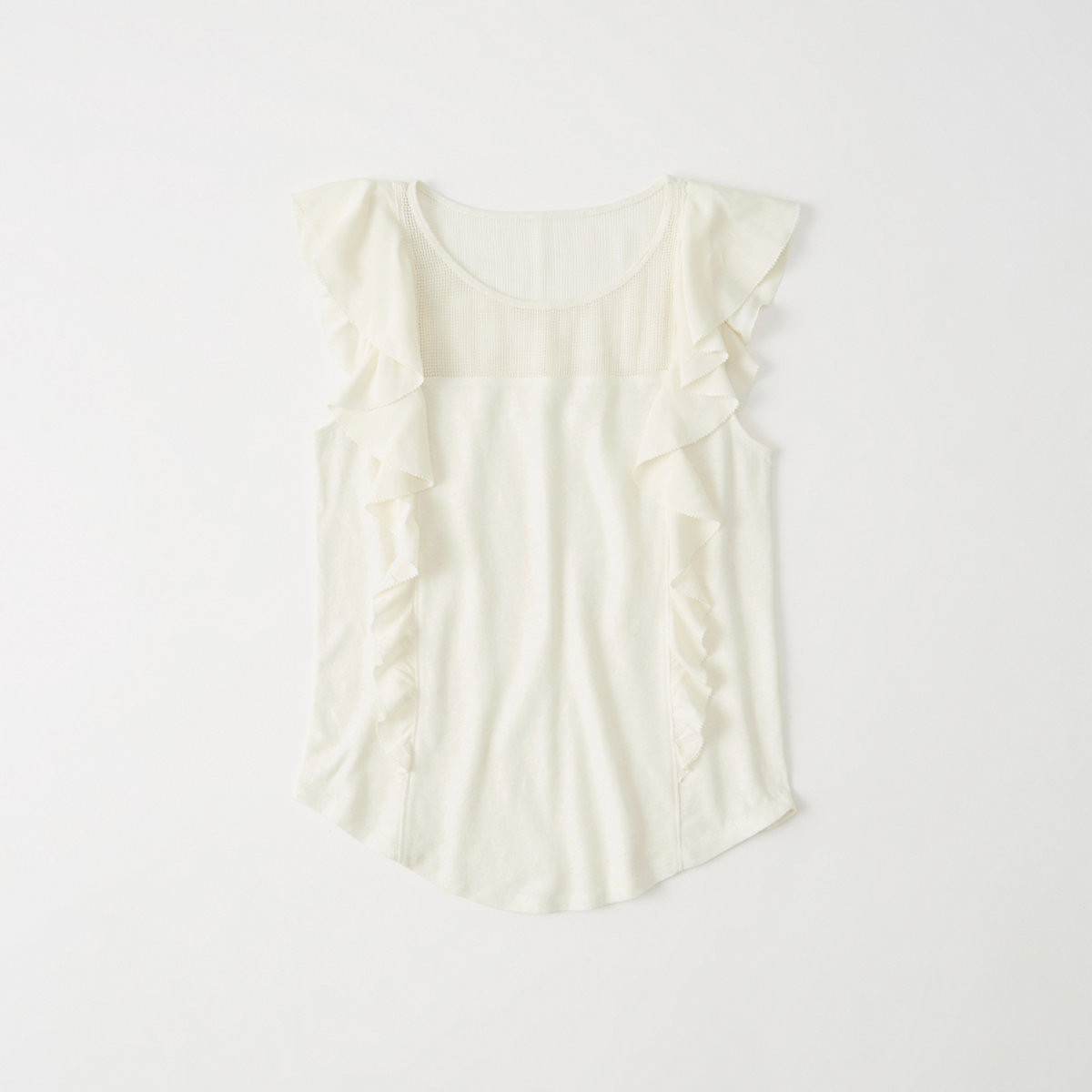 Fabric Mix Ruffle Top