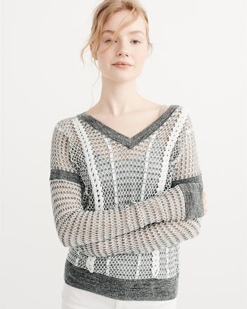 ANF Linen-Blend Lace Up Mesh Sweater