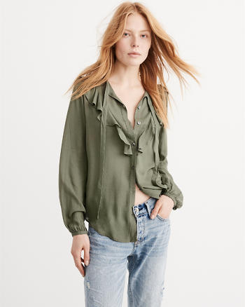 ANF Ruffle Tie-Front Blouse
