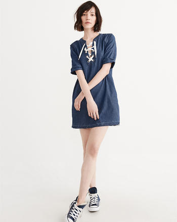 Lace-Up Denim Dress