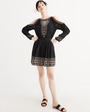 ANF Embroidered Cold-Shoulder Dress