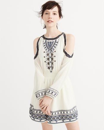 ANF Embroidered Cold-Shoulder Dress