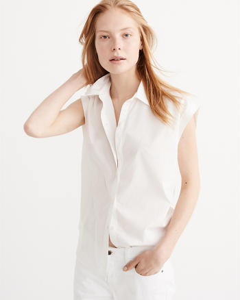 ANF Button Back Poplin Shirt