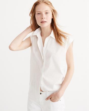 ANF Button Back Poplin Shirt
