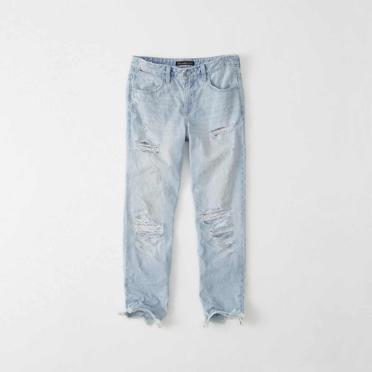 Ripped Ankle Straight Jeans