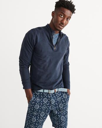 ANF Garment Dye Half-Zip Henley