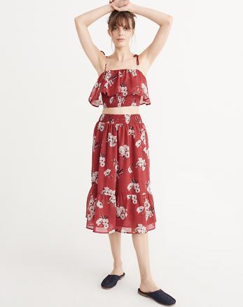 ANF Smocked Midi Skirt and Top Set